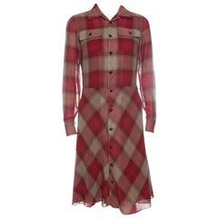 Ralph Lauren Red Cotton Plaid Long Sleeve Shirt Dress S
