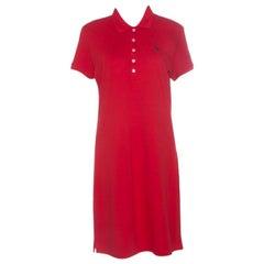 Ralph Lauren Red Cotton Short Sleeve Polo T-Shirt Dress L