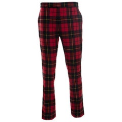 Ralph Lauren Red Tartan Cashmere Straight Fit Pants XXL