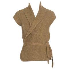 Ralph Lauren Sand Brown Hand Knit Cap Sleeve Wrap Cardigan M