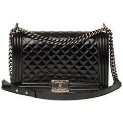 2014 Chanel Black Quilted Patent Leather Large Le Boy
