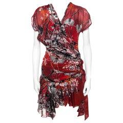 Roberto Cavalli Red Floral Printed Faux Wrap Draped Asymmetric Dress S
