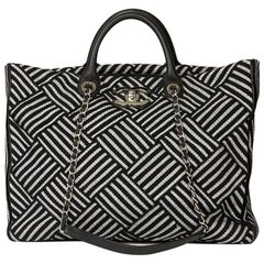 2017 Chanel Black & Silver Woven Canvas Shopping Tote