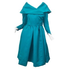 Vintage Victor Costa Teal Green Blue Size 6 / 8 Satin Long Sleeve Cocktail Dress