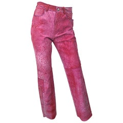 NWT Romeo Gigli 1990s Pink Suede Sz 4 / 6 High Waist Straight Leg Vintage Pants
