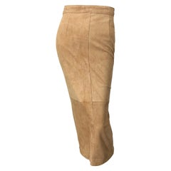 Vintage Calvin Klein 1990s Suede Leather Size 4 / 6 High Waist Midi Pencil Skirt