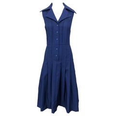 1990s Saks 5th Avenue Size 10 Navy Blue Silk Vintage 90s Sleeveless Shirt Dress