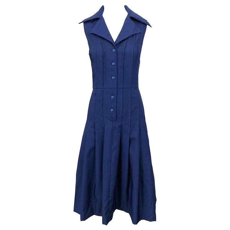 1990s Saks 5th Avenue Size 10 Navy Blue Silk Vintage 90s Sleeveless Shirt Dress For Sale