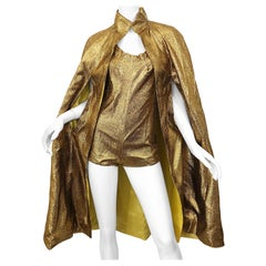 Amazing 1970s Gold Lurex Lame Disco Studio 54 Vintage 70s Romper and Cape Jacket