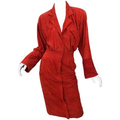 Chic 1990s Red Rust Suede Leather Size 4 / 6 Long Sleeve Vintage 90s Shirt Dress