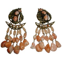 Pair of Iradj Moini Coral, Citrine, Rhinstone & Metal Dangle Clip On Earrings