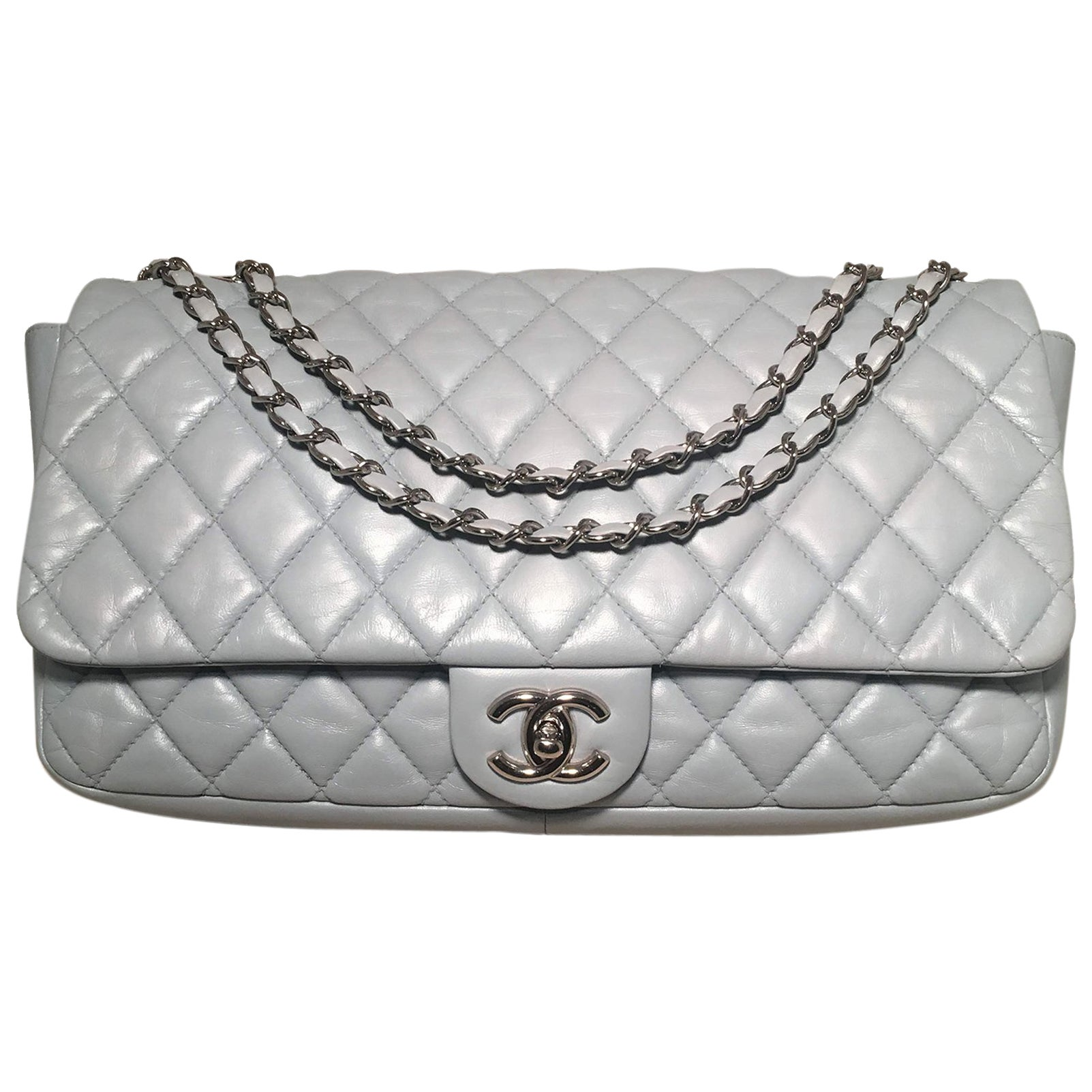 e5bd4174fb67 Chanel Light Blue Quilted Leather XL Maxi Classic Flap Shoulder Bag For  Sale at 1stdibs
