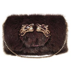 RARE Gucci by Tom Ford Purple Mink Embellished Dragon Evening Bag Clutch