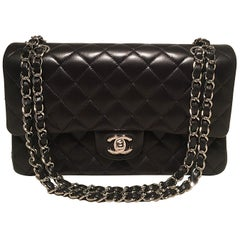 Chanel Black Lambskin Medium 10 inch 2.55 Double Flap Classic Shoulder Bag