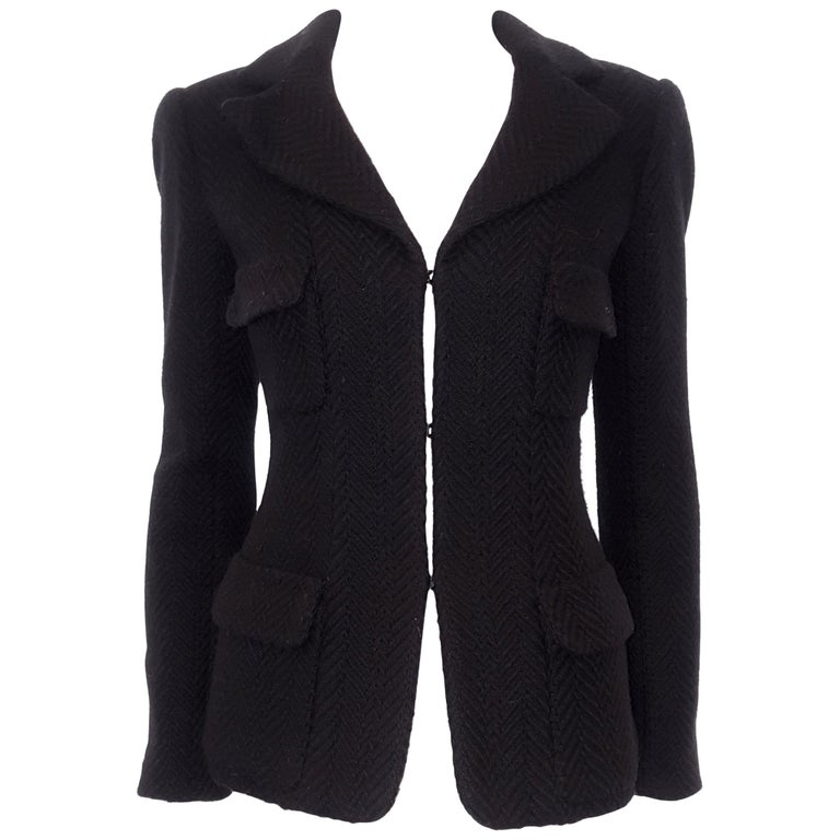 Chanel Black Herringbone Wool 2006 Fall Collection Jacket For Sale