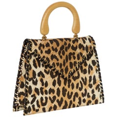 Yves Saint Laurent  Leopard Animal Print Canvas Wooden Top Handle Bag, 1990s