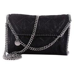Stella McCartney Falabella Fold Over Flap Crossbody Bag Quilted Shaggy Deer Mini