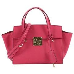 Salvatore Ferragamo Gancio Lock Convertible Shoulder Bag Leather