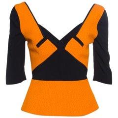 Roland Mouret Orange and Black Paneled Ajanta Peplum Top S