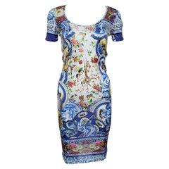 Roberto Cavalli Multicolor Printed Knit Short Sleeve Dress M