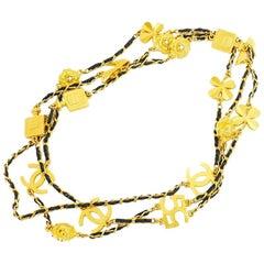 Seltene Vintage Chanel Symbol Amulett Extralange Halskette der 1990er Jahre