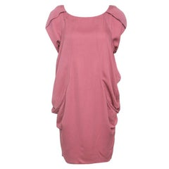 Moschino Pink Draped Side Cowl Detail Short Sleeve Dress S