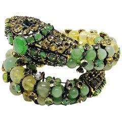 Semi precious stones and paste large  'snake' bracelet, Iradj Moini, USA, 2000s