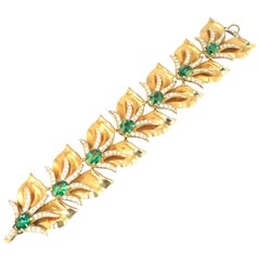 Modernist Abstract Emerald Crystal Linked Bracelet, 1940s