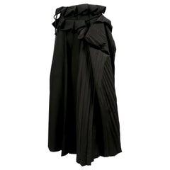 YOHJI YAMAMOTO black wool and silk pleated wrap skirt