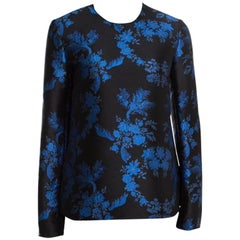 Stella McCartney Black and Blue Floral Jacquard Long Sleeve Top S