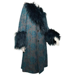 Torso Creations 1950s Grey Wool Coat W/ Teal Lace Overlay & Coordinated Faux Fur