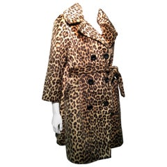 1960s Faux Leopard Fur Trench Coat W/ Original Belt By Somali