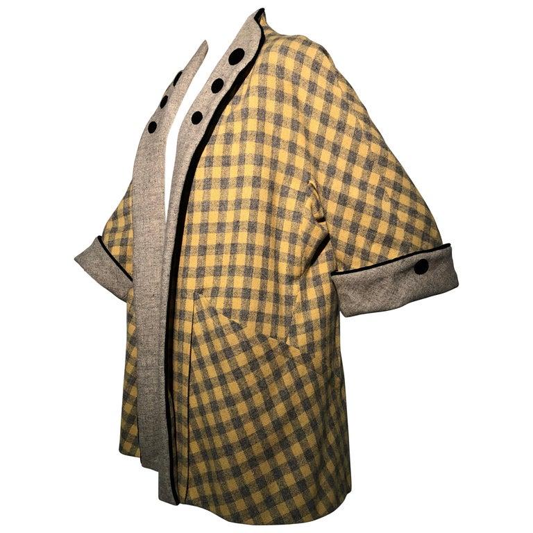 1950s Pierre Benoit Yellow & Gray Checked Wool Stroller Coat W/ Velvet Buttons 1