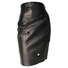 1980s Gianfranco Ferré High-Waisted Black Leather Mini Skirt W/ Large Eyelets