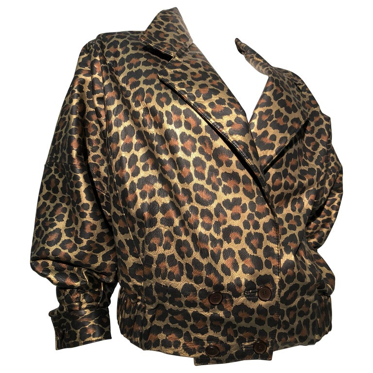 1980s Andrea Pfister Metallic Leopard Print Leather Bomber Jacket 1