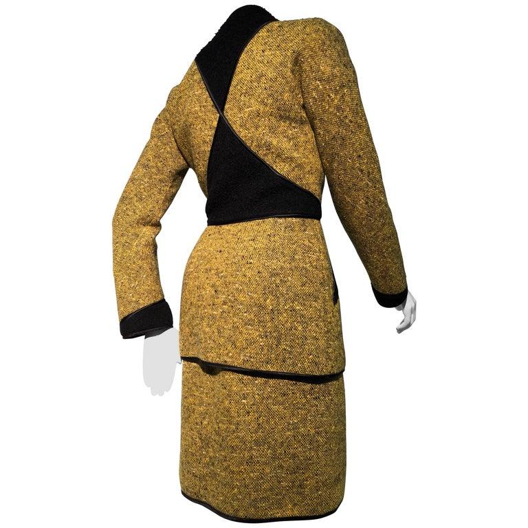 1990s Geoffrey Beene Goldenrod & Black Wool 2-Piece Tweed Dress and Jacket  For Sale