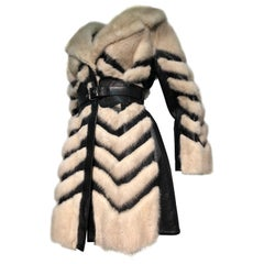 1960s Honey Blonde Mink & Leather Chevron Pieced Coat W/ Leather Corset Belt