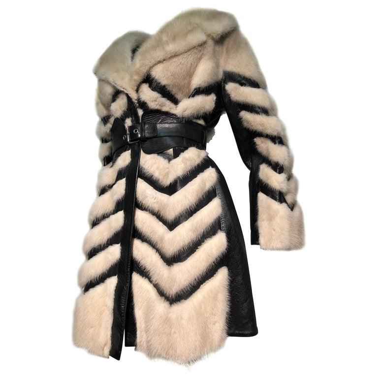 1960er Jahren honey Blonde Nerz & Leder Chevron genäht Mantel W / Leder Korsett Gürtel 1