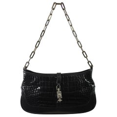 Gucci Black Crocodile Mini Jackie Shoulder Bag