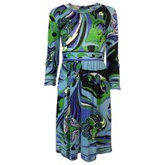 1960s Emilio Pucci Cashmere & Silk Purple & Green Classic Print Dress