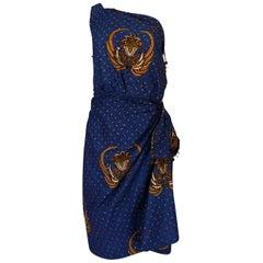 1950s Margie Webb Original Printed One Shoulder Sarong Dress