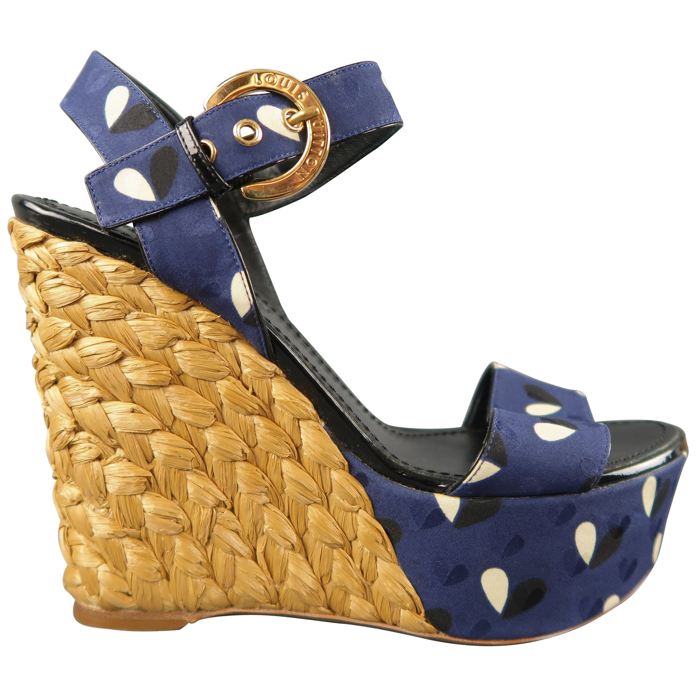 3cff2c17fb40 LOUIS VUITTON Size 7 Navy Fabric Braided Espadrille Platform Wedge Sandals  at 1stdibs