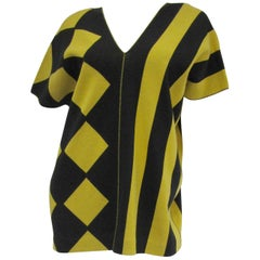 1980s Issey Miyake Yellow and Black Diamond and Stripe Cotton Knit Top