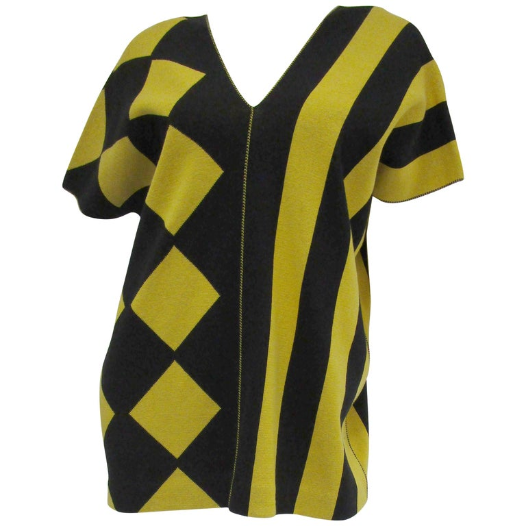 1980s Issey Miyake Yellow and Black Diamond and Stripe Cotton Knit Top For Sale