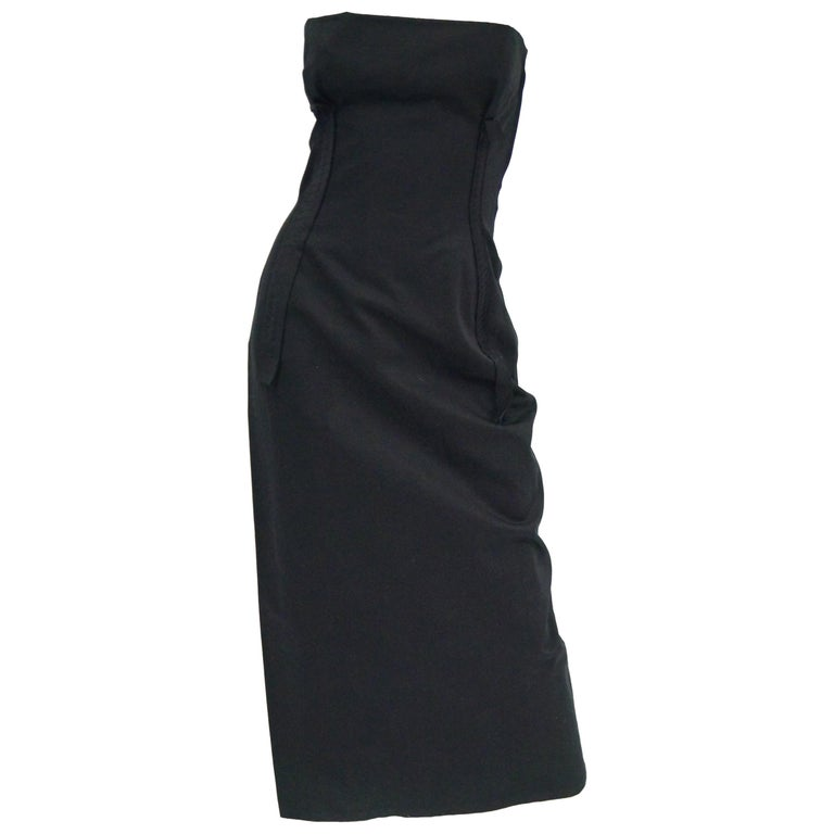 1990s Yohji Yamamoto Black Cotton Dress For Sale
