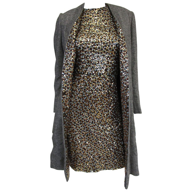 1960s Bill Blass Grey and Gold Sequin Dress with Sequin Lined Jacket xxs For Sale