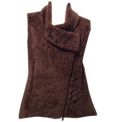 Brunello Cucinelli Brown Lamb Shearling Vest, Small