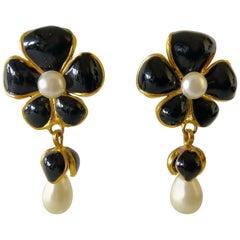 Vintage Chanel Black Pearl Flower Statement Earrings
