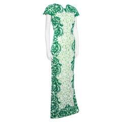 Tadashi Shoji Green and White Lace Cap Sleeve Mermaid Gown L