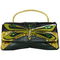 Miu Miu Green Leather/Python Multi-Color Dragonfly Crossbody/Clutch Bag
